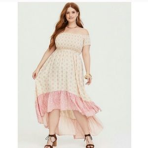 High-low off the shoulder torrid ruffle dress